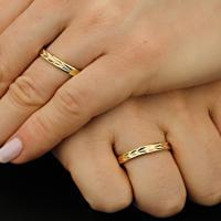 Aliança De Ouro Casamento Fosca E Lisa Com Diamantes - As0919 + As0920