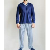 Pijama Gislal Calça Manga Longa Xadrez Masculino - Masculino-Azul Escuro