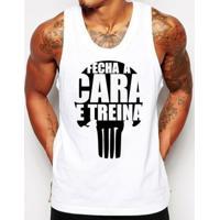 Camiseta Regata Criativa Urbana Frases Academia Fecha A Cara - Masculino-Branco