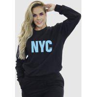 Blusa Moletom Feminino Moleton Básico Suffix Preto Estampa New York City Azul Bebe