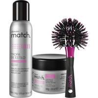 Combo Match Modelador: Pomada Modeladora + Escova Para Modelar + Spray Fixador