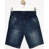 Bermuda Jeans Com Bigode- Azul- Lacostelacoste