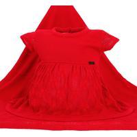 Saída De Maternidade Fofinho Vestido E Manta Tricô Vermelho