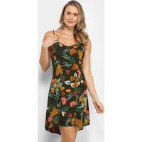 Vestido Yutz Curto Evasê Floral - Feminino-Verde