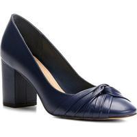 Scarpin Couro Shoestock Salto Médio Drapeado - Feminino-Marinho