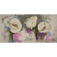 Quadro Pintura Flores Brancas Colorido Fullway