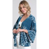 Kimono Feminino Estampado De Arabescos Manga Curta Azul