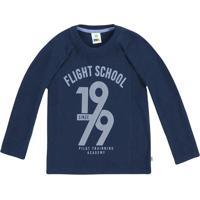 "Camiseta ""Flight School Since 1979""- Azul Marinho & Azulpuc"