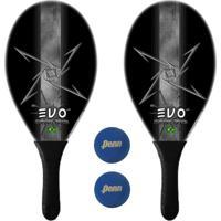 Kit Raquetes Frescobol Evo Fibra Vidro Dark Com 2 Bolas Penn