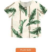 Blusa Feminina Plus Size Folhas Bege