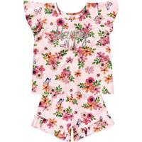 Conjunto De Blusa + Short Floral- Rosa Claro & Verdemarisol