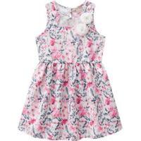 Milon Vestido Floral Com Tule Branco & Rosa