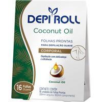 Depilador Depiroll Coconut Oil Cera Fria Para Virilha E Pernas Folhas Prontas Com 16 Unidades (8 Pares)