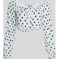 Blusa Feminina Cropped Ombro A Ombro Estampada De Poá Com Laço Manga Bufante Off White