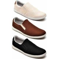 Kit 3 Pares Tênis Mac Point Casual Masculino - Masculino-Bege+Marrom