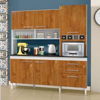 Cozinha Compacta Ébano 6 Pt 2 Gv Branco E Caramelo