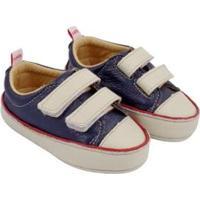 Tênis Infantil Couro Catz Calçados Noody Velcro - Unissex-Marinho+Branco