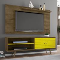 Rack Com Painel Para Tv Até 50 Polegadas Utah Amarelo/Marrom - Pnr Móveis