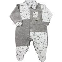 Macacão Infantil Ano Zero Plush Estampado Estrelas Ursinho Masculino - Masculino-Branco+Cinza