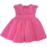 Vestido Infantil Gira Baby Kids Renda Rosa