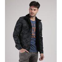 Jaqueta De Sarja Masculina Estampada Camuflada Com Pelo Chumbo