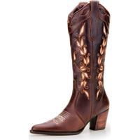 Bota Texana Capelli Boots Bordada Marron
