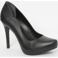 Sapato Em Couro Texturizado- Preto- Salto: 11Cmloucos E Santos