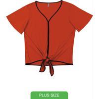 Blusa Decote V Com Amarração Laranja