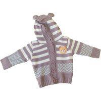 Casaco Tricot Com Capuz Bebê Kyly 4699 Cinza