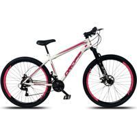 Bicicleta Aro 29 Freio A Disco Mecânico Quadro 17 Suspensão 21 Marchas Aço Branco Rosa - Dropp
