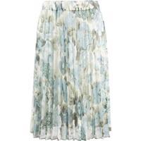 P.A.R.O.S.H. Pleated Floral Print Skirt - Azul