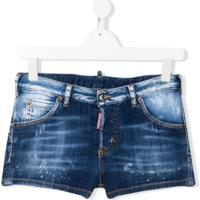 Dsquared2 Kids Bermuda Jeans Com Efeito Desbotado - Azul