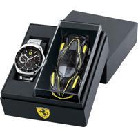 Box Relógio Scuderia Ferrari Masculino Aço E Carrinho - 870037