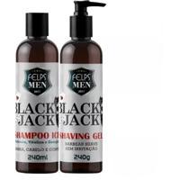 Shampoo Ice + Shaving Gel Para Barbear Felps Men Black Jack 2X240Ml