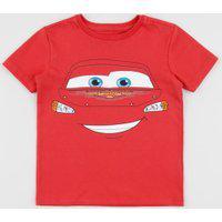Camiseta Infantil Relâmpago Mcqueen Carros Manga Curta Gola Careca Vermelha
