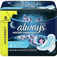 Absorvente Always Noites Tranquilas Cobertura Seca Com Abas Leve 8 Pague 7 Unidades