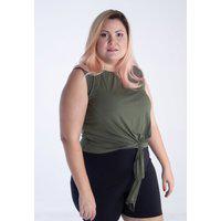 Blusa Brum Curvy Plus Size Quintess Com Detalhe De Amarração Na Barra Verde Militar