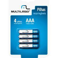 Pilhas Recarregáveis Aaa Multilaser 1000Mah Com 4 Unidades - Cb050 - Padrão