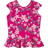Blusa Floral Com Babado - Rosa Escuro & Verde - Juvemalwee