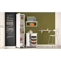 Conjunto Para Cozinha Com Mesa Dobrável, Armário Multiuso, Suporte Para Micro-Ondas E Fruteira Branco - Politorno