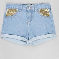 Short Jeans Infantil Com Paetês E Barra Dobrada Azul Claro