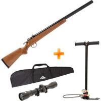 Carabina Espingarda De Pressão Pcp M30 Firewood 5.5Mm Artemis + Bomba Manual + Capa + Luneta - Unissex