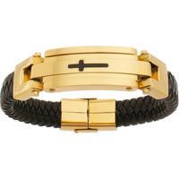 Bracelete De Aço Inox Gold Tudo Joias Com 15Mm De Largura - Unissex-Dourado