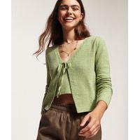Cardigan De Tricô Feminino Com Cordão Para Amarrar Decote V Verde