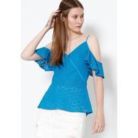a4fc7ccec Blusa Em Laise Com Babado- Azul- Colccicolcci