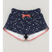Short Infantil Estampado De Estrelas Com Laço Azul Marinho