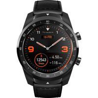 Relógio Ticwatch Smart Pro Masculino Ticwatch Pro Pxpx Caixa Em Fibra De Carbono Pulseira Couro E Silicone Preto