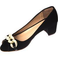 Sapato Butique De Sapatos Peeptoe Fivela Dourada Preto