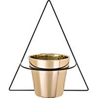 Vaso Dourado Cerâmica Com Suporte De Parede Mart Collection