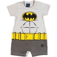 Macacão Batman Infantil Para Bebê Menino - Cinza
